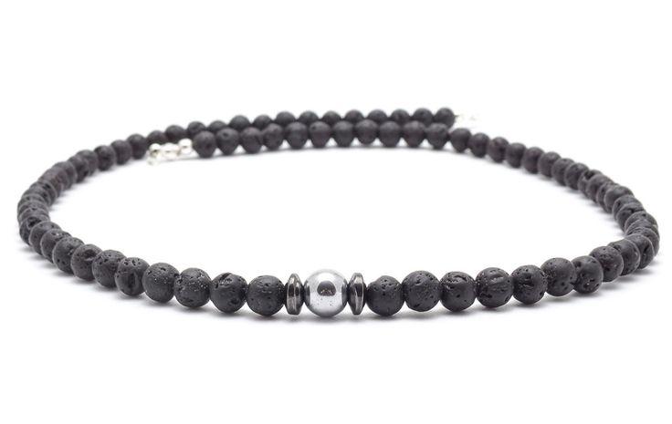 Mens Necklaces – Necklace men volcanic lava  hematite – a unique product by Blackif on DaWanda