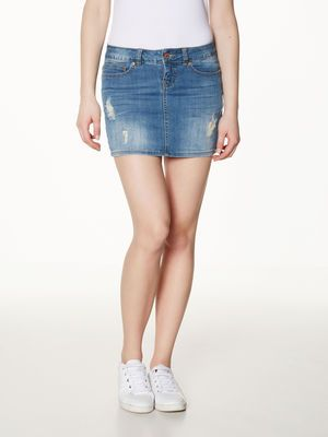KORT DENIM ROK, Light Blue Denim