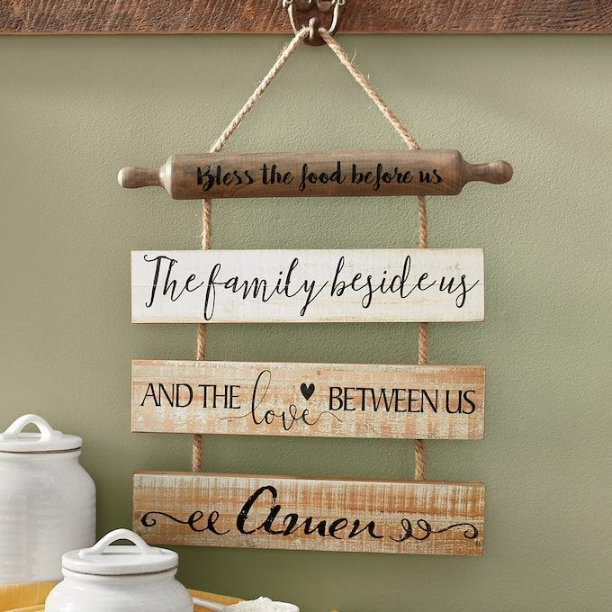 Bless The Food Family And Love Wall Hanging Country Door In 2020 Bless The Food Rustic Wall Hangings Dining Wall Decor