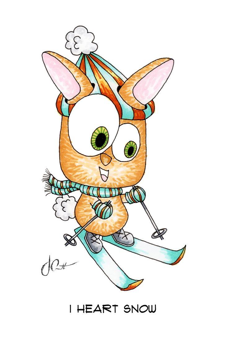 I Heart Snow [Ski Bunny] | QTS Collection | 4x6 | marker | Josephine Condotta