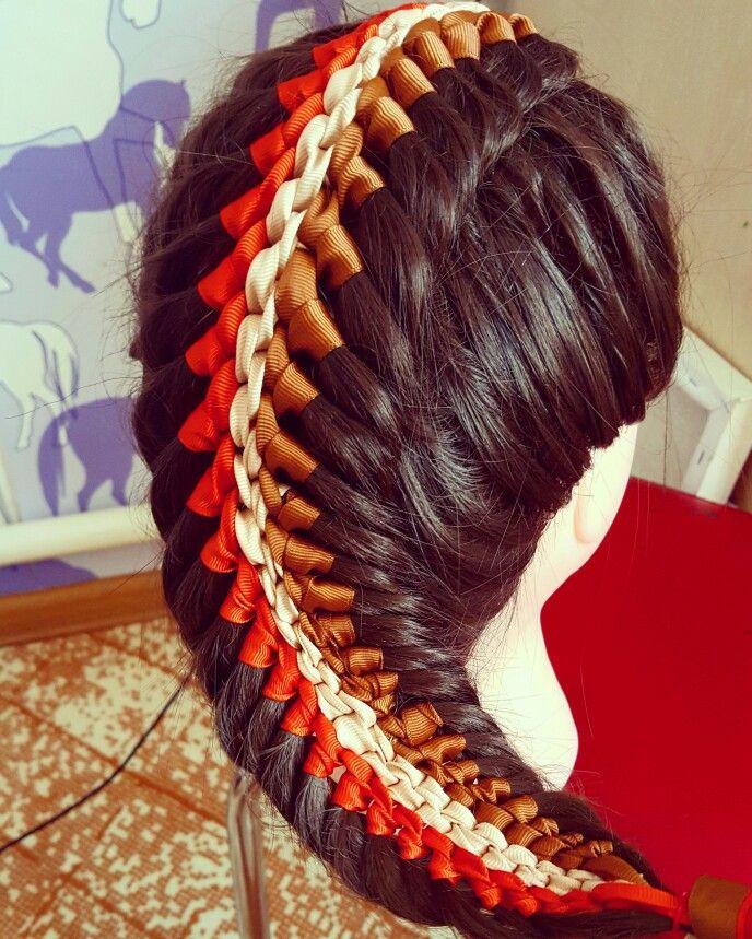 Коса ёлочка с тремя лентами