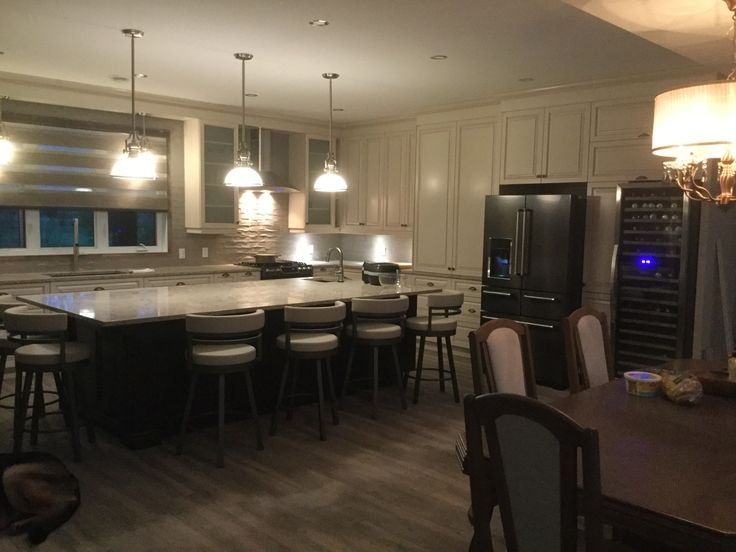 Loving our kitchen. A large island is the best !!! Family is always around the island !!!