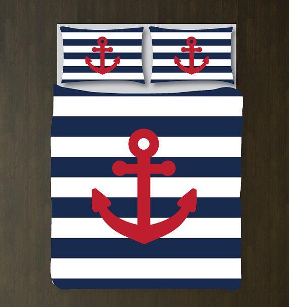 Custom Nautical Duvet Bedding Set-Navy Blue-White Stripes-Brick Red Anchor-CUSTOMIZE COLORS-Twin XL/Full/Queen/King-Girls Room-Preppy Decor