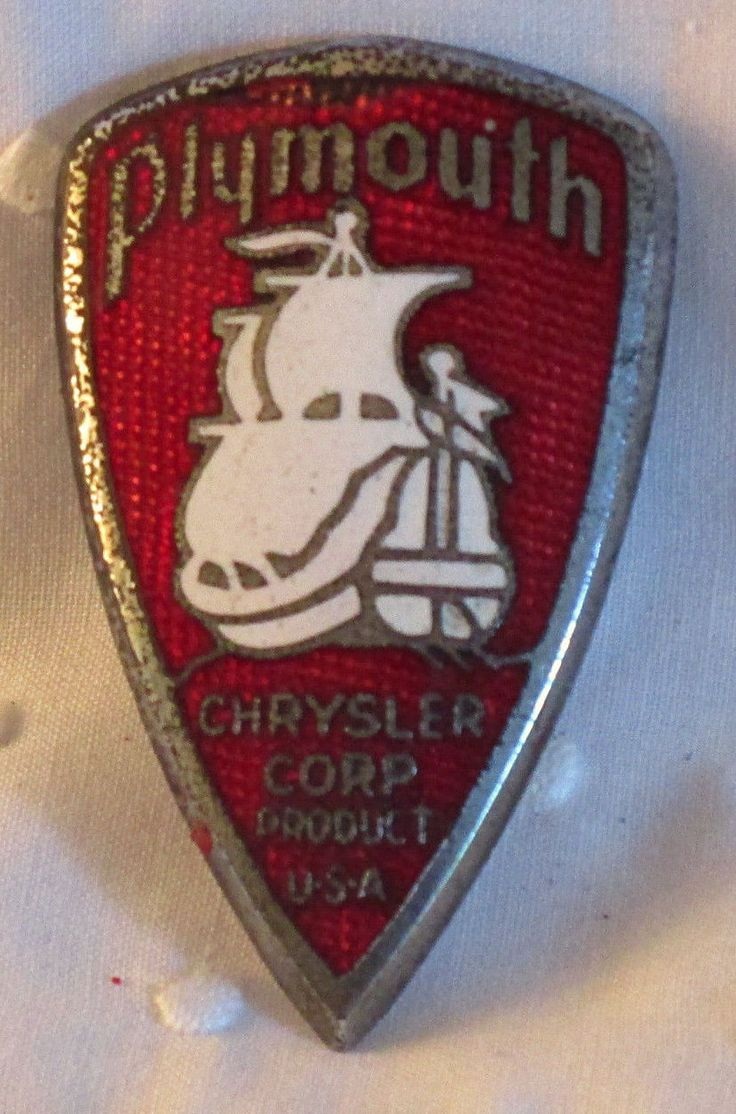 1930'S RED & WHITE PLYMOUTH CHRYSLER GRILLE BADGE Auto