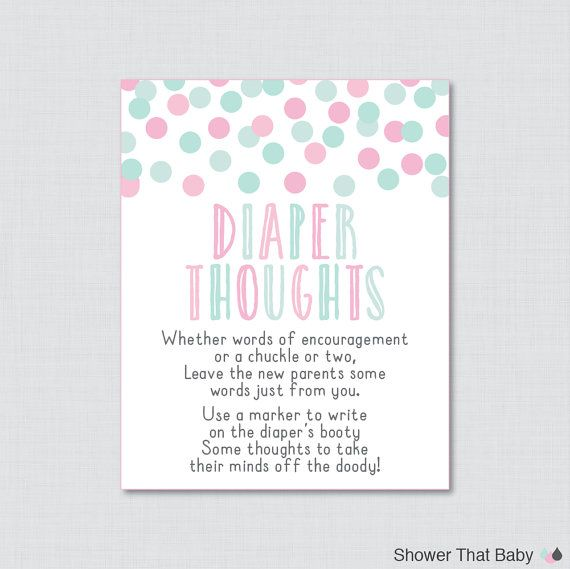 Pink And Mint Baby Shower Diaper Thoughts Game   Printable Download   Write  On Diaper Message Game, Words For Wee Hours Pink Blue   0013 B