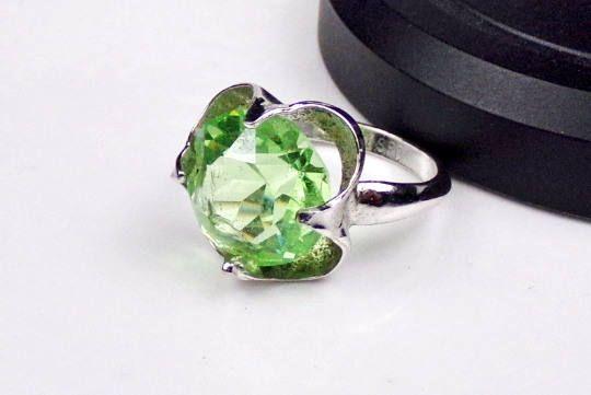 BOLD Modernist Sterling Silver 925 Green Quartz Ring Designer