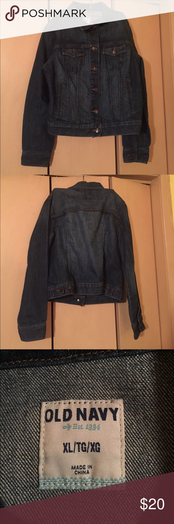 Old Navy Jean Jacket Worn maybe a dozen times. Can be a bit snug in the arms and shoulders so if you have broad shoulders or muscular arms I wouldn't buy this size. Old Navy Jackets & Coats Jean Jackets