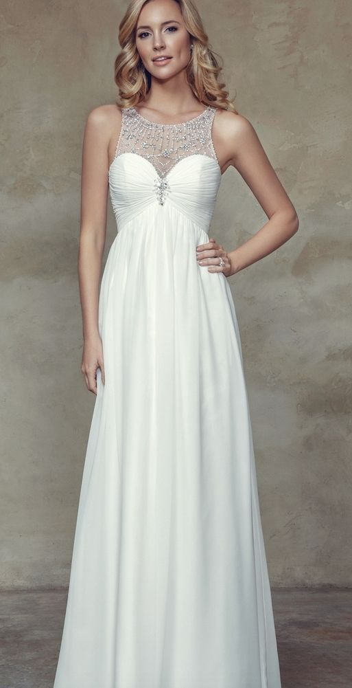 Elegant jeweled high neck wedding dress; Featured Dress: Mia Solano