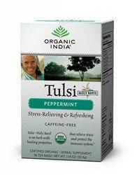 Organic India Tulsi Peppermint - 18 theezakjes  Tulsi Peppermint, de combinatie Tulsi en pepermuntblaadjes zorgen voor een heerlijk verfrissende, versterkende en heilzame thee.  Tulsi Peppermint Deze Tulsi thee is een heerlijke pepermunt thee, die...