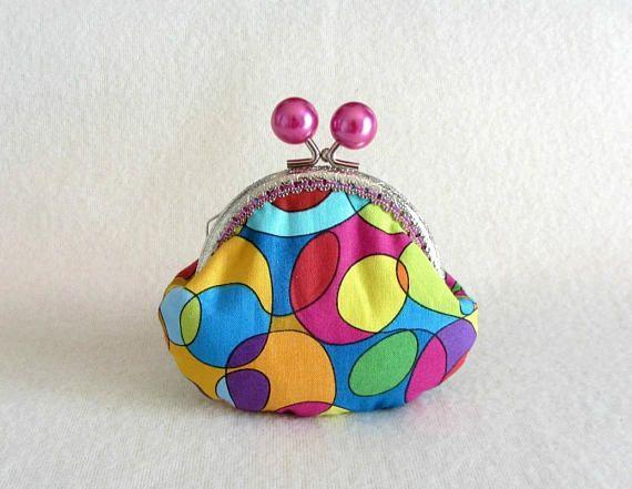 Colorful coin purse handmade clasp purse  frame coin pouch