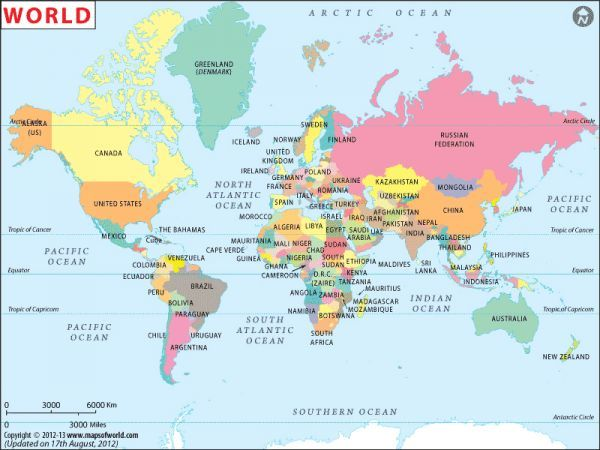 Awesome World Map With Countries Holidaymapq Pinterest - Germany map in world map