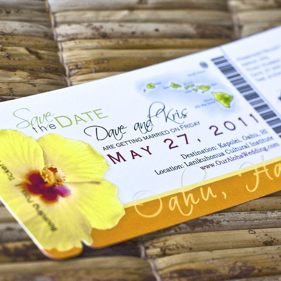 This is such a cute idea! Boarding Pass Invitation or Save the Date  (Kristin's Orange / Yellow Hibiscus Hawaii Map Design) Perfect for #destination #wedding or #hawaii #tropical theme