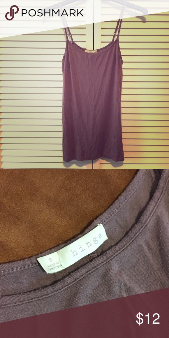 HINGE Cami HINGE Cami in dusty purple. This super soft cami is delicately structured and comes in an elegant dusty purple color-- beautiful with gold, blue, and camel. It has some pilling from normal wear. Previously loved and ready for a new home! Hinge Tops Camisoles