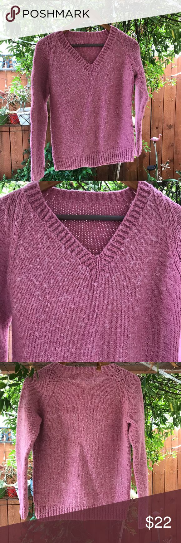 Vintage 90s women's pink blush sweater small Preppy hipster style 90s wool feel sweater Vintage Sweaters Crew & Scoop Necks