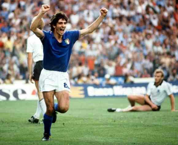 Italy 3 West Germany 1 in 1982 in Madrid. Paolo Rossi celebrates his goal in the World Cup Final.