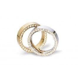 Elegant+förlovningsring/vigselring+i+18k+vitguld+från+Flemming+Uziel+i+serien+Signo.+Ringens+diamanter+infattar++totalt+0,62ct+Wesselton+SI+.+Ringen+är+5,2mm+bred+och+2,5mm+hög.+Ringen+i+rödguld+har+artnummer+fub063.  Välj+Colorful+Love,+en+0,01ct+färgad+diamant+som+infattas+tillsammans+med+ringarna+inskription+(på+insidan).