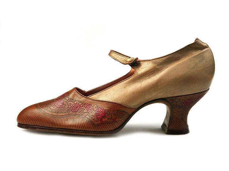 1920s leather shoes with tooled roses