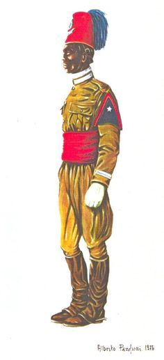 REGIO CORPO TRUPPE COLONIALI DELL'A.O.I. :  MUNTAZ DEGLI ZAPTIE DEL PLOTONE DI  SCORTA  GOVERNATORIALE ERITREO IN UNIFORME ORDIINARIA -1938  Gli appartenenti ai reparti di scorta governatoriale  indossavano speciali uniformi che si differenziavano in alcuni dettagli da quelle proprie del Corpo. Pin by Paolo Marzioli