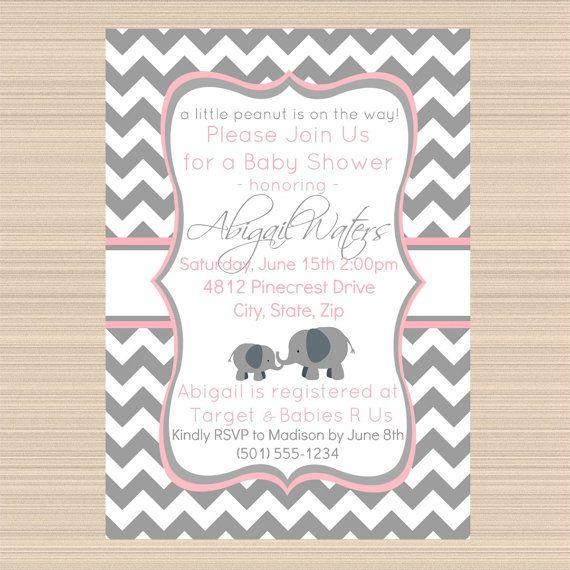 elephant baby shower digital invitation pink and grey chevron on etsy