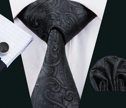 Elegantná kravatová sada Bary - kravata + manžety + vreckovka, č.8