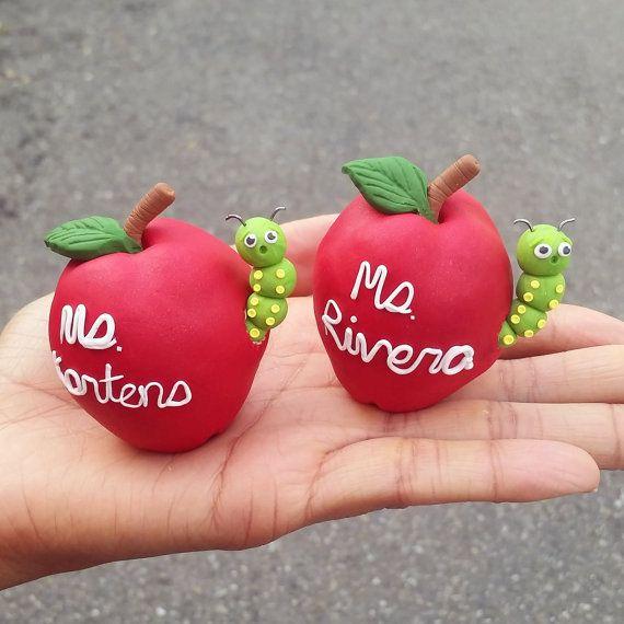 Personalized teacher gift, teacher apple, polymer clay ...