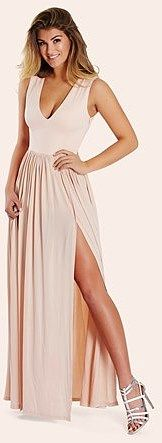 Womens blush sistaglam slinky plunge maxi dress from Lipsy - £80 at ClothingByColour.com