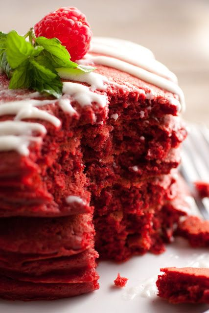 Red velvet pancakes with cream cheese glaze; Or, a reason to eat cake for breakfast