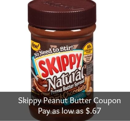 Skippy Natural Peanut Butter Coupon – As Low as $.67