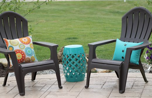 Patio furniture (chairs from Lowes, pillows from Kohls)