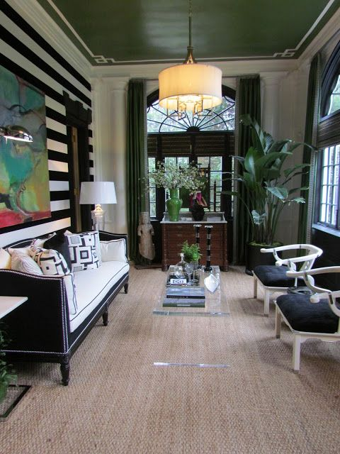 Room of the Day: Black and white with green accents - so original and striking by Lillian August designs at Westchester Showhouse 6.18.2013