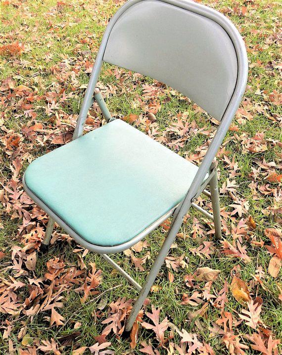 krueger folding chairs hydraulic stool chair steel construction green vinyl vintage mid century table