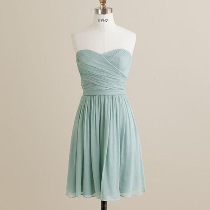 MINT Wedding dress , chiffon party dress, mint blue bridesmaid dress, strapless formal dress  (B072) by RenzRags on Etsy https://www.etsy.com/listing/161533922/mint-wedding-dress-chiffon-party-dress