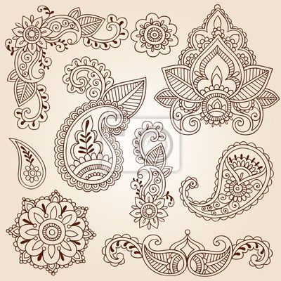 Wall mural henna mehndi doodles paisley design elements for Back mural tattoo designs