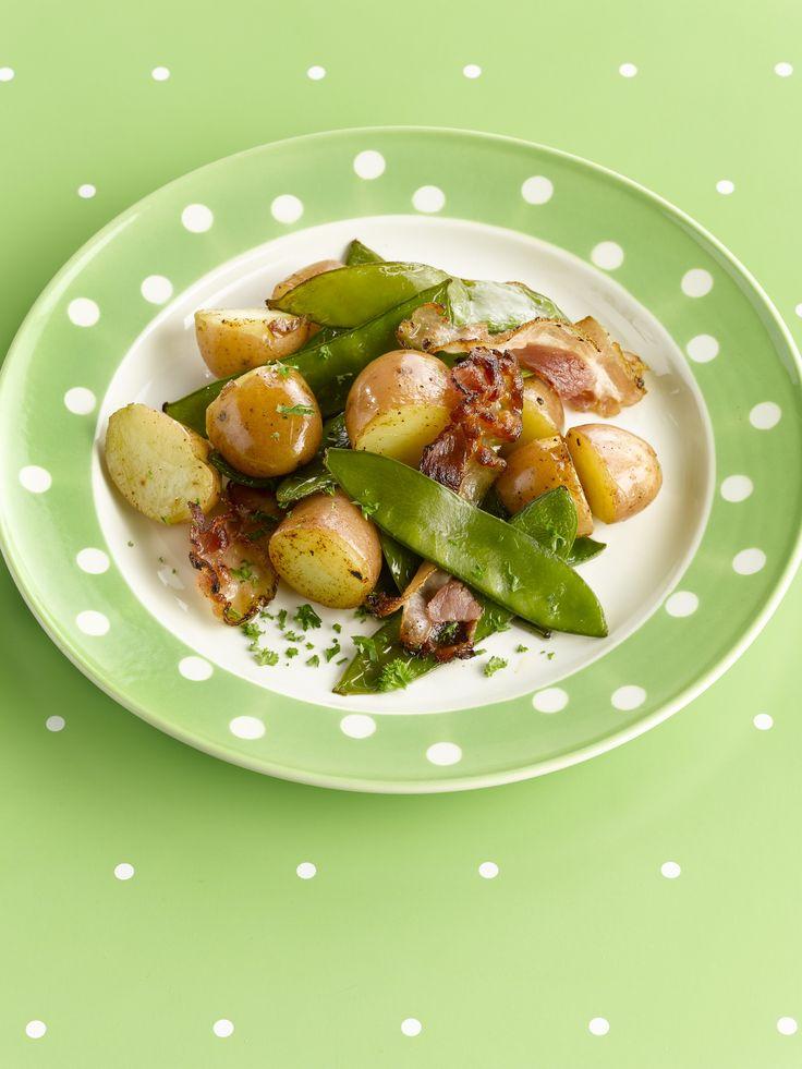 Jonge aardappel- en peultjeswok http://www.njam.tv/recepten/jonge-aardappel-en-peultjeswok