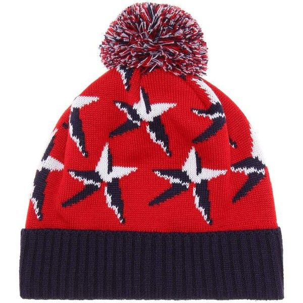 Perfect Moment Wool-Blend Ski Beanie ($81) ❤ liked on Polyvore featuring accessories, hats, red, red beanie hat, ski beanie, ski hat, beanie cap hat and red beanie