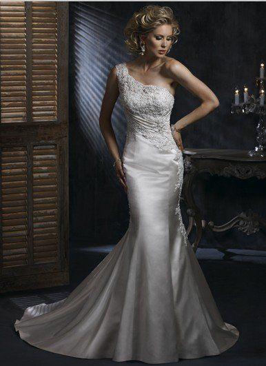 HS-018 Freeshipping New Arrival Hot Sale Mermaid One-shoulder Satin Wedding Dresss on AliExpress.com. $148.95