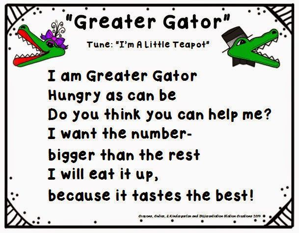 "FREE! Chants and songs to use with ""Greater Gator"" math manipulative."