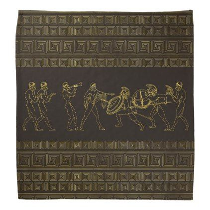 Ancient Sparta  Greece scene on greek pattern Bandana - accessories accessory gift idea stylish unique custom