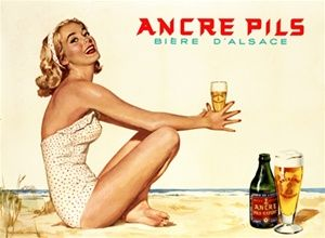 Ancre Pils Biere D Alsace Belgium - Beautiful Vintage Posters Reproductions. This horizontal Belgium poster advertising beer features an attractive blond woman in a white swimsuit on the beach holding a glass of beer. Giclee Advertising Print. Classic