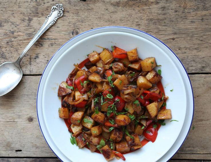 Spanish Potatoes with peppers, herbs and spices