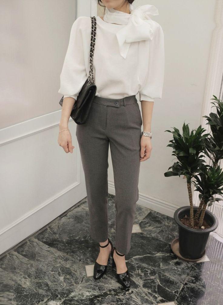 [reflower] 버튼슬랙스팬츠/button gray slacks pants : 리플라워