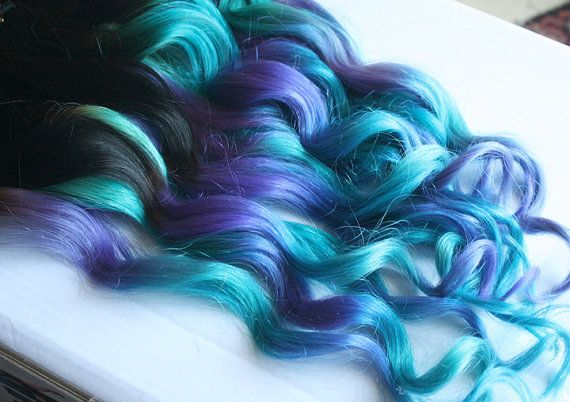 Clip In Hair Extensions Purple Teal Hair Weave by Cloud9Jewels