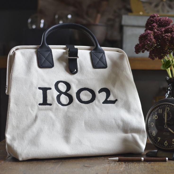 The Beekman Bowler Hand Bag Canvas With Black Leather Made In Usa Handbagsdesigner