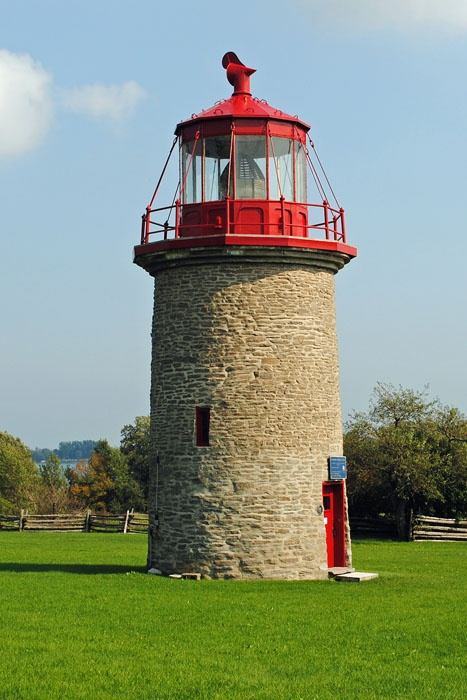 The reconstructed False Duck Island Lighthouse sits on the grounds of Mariner's Memorial Park. This park was constructed as a memoriam for all the sailors of Prince Edward County that lost their lives at sea.