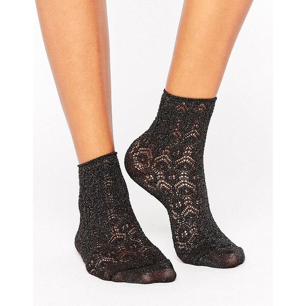 Falke Black Sri Lanka Short Sock ($12) ❤ liked on Polyvore featuring intimates, hosiery, socks, black, ankle length socks, cotton socks, metallic socks, cotton slouch socks and ankle socks