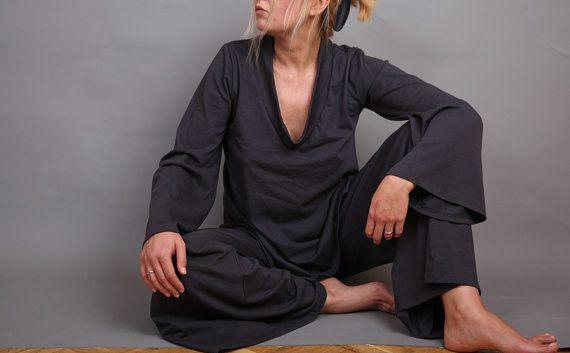 Comfortissimo Pajamas: Asphalt Gray, Sets Pajamas, Gray Pajamas, Wide Sleeve, Comfortissimo Pajamas, 89 00, Sleep Sets, Art Wear, Gray Sleep