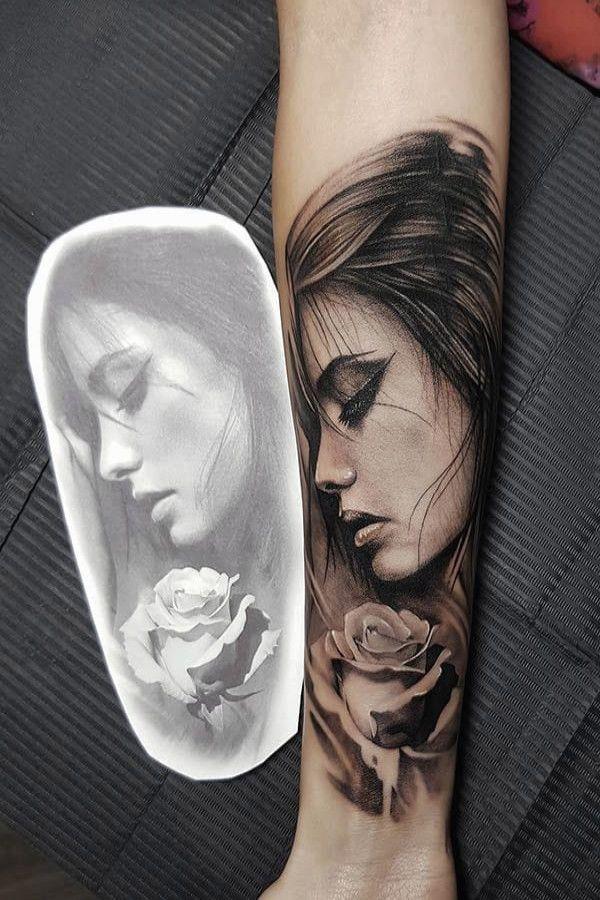 25 Unglaublich Frauengesicht Tattoo Vorlage