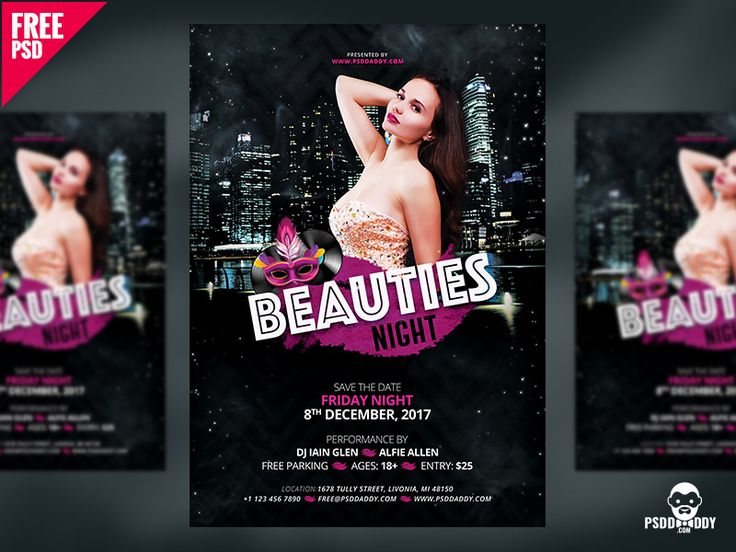 Beauties Night Flyer Free PSD by Free Download PSD