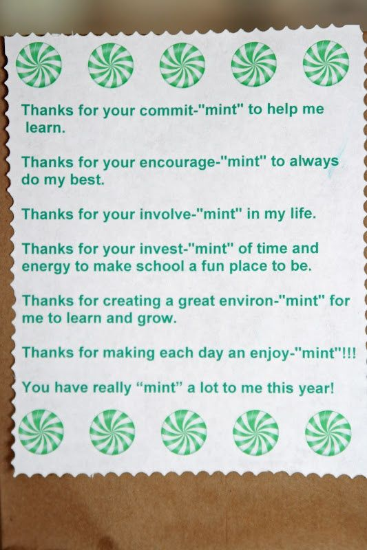 Image result for teacher appreciation ideas with mints
