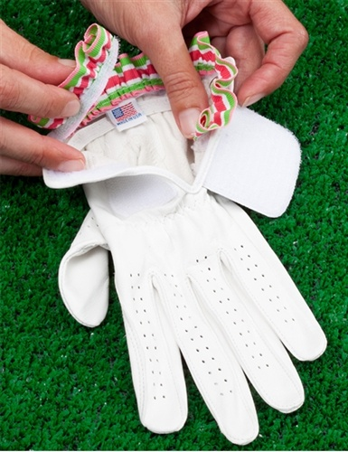 Golf glove and removable pink and green ruffle (watermellon stripe) | Set $25.95